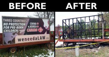 Arsonist Destroys Pro-Life Billboard at Catholic Parish