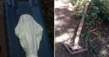 Rockford: Statue of Mary Beheaded and Crucifix Destroyed